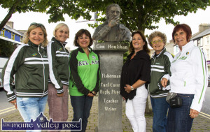 On Tour: Pictured at the Con Houlihan monument in castleisland on Sunday evening were, from left:  Christine Bordas , Sylvertte Laqueryrene,   Christine Calastreme, teacher;  Lillian Cronin, tour co-ordinator; Annie Debois and Francoise Chaumenille. ©Photograph: John Reidy