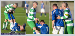 A moment of Sportsmanship: Killarney Celtic defender, Brian Spillane goes to the aid of Castleisland AFC attacker, Stephen McCarthy and gets him up and running late in the second half of their drawn Greyhound Bar KO Cup final at Mounthawk Park on Saturday evening. ©Photograph: John Reidy