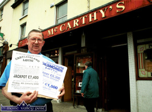 The late John Shanahan with the proof of his double Lotto winning draws in his pub in January 2002. ©Photograph: John Reidy 28-1-2002
