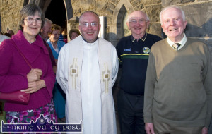 The late Paddy Kennelly (right) pictured with his son, Fr. Pádraig Kennelly,  and retired Castleisland parish clerk, Mary McGaley and her husband Aidan at Fr. Noel Spring's 25th celebration mass at St. John's Parish Church in Ballybunion in 2013.  ©Photograph:  John Reidy  7-6-2013