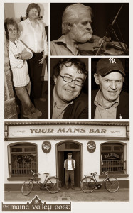 Live in the Marquee - Your Man's Bar, Ballyduff. Clockwise from bottom: Ballyduff publican, John Walsh, Cyril O'Donoghue and Danny O'Mahony, John Sheahan, Dessie O'Halloran and Gabriel Fitzmaurice. ©Photographs: John Reidy - except photograph of John Sheahan.