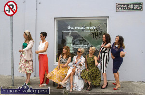 Posing Prohibited: Members of The Mad Ones Community looking for a lift to the Killarney Races on Thursday morning. From left: Angela Kelly-Bray, Breda McGaley, Kate McSweeney, Noreen Cronin, Tara Walmsley, Eileen Devereaux and Karen McKenna. ©Photograph: John Reidy