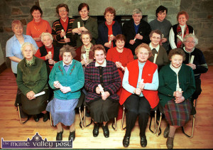 A group of Scartaglin ladies who completed a course of instruction on the holistic approach to health, food and general well being in January 2003.  Pictured after receiving their certificates of completion are, front from left: Mary Quilter, Mai Clifford, Joan Murphy, Anne Daly and Nora Lenihan. Second row from left:  Joan Barrett, tutor; Sheila Riordan, Peggy O'Leary, Hannah Mai Murphy, Nora Daly and Joan Kerin. Back from left: Mary Tangney, Mary O'Sullivan, Sheila McSweeney, Joan Fitzgerald, Hannah Bastible, Bernadette Adair and Maureen Cronin. ©Photograph: John Reidy 30-1-2003