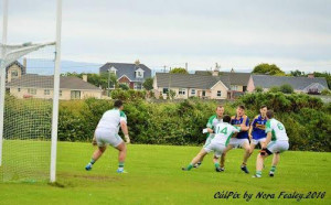 Jason Cronin and T.J O'Connor breaking through Ballyduff's defenders last Sunday in Round 8 of the County League. ©CúlPix by Nora Fealey