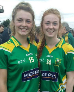 Desmonds Ladies' team representatives, Labhaoise Walmsley (left) and Kayla O'Connor on the Kerry U-16 squad which captured the All-Ireland title this evening in Nenagh.