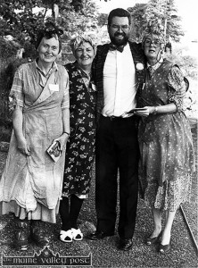 The late Peggy Teahan (second from left) as part of the specially convened trio The Cave Women with the late Mary Anthony McQuinn (left) and Beth Carty with RTÉ Radio One reporter, Joe Duffy after they had completed their live performance for a Gay Byrne Show special from Crag Cave in 1992. ©Photograph: John Reidy 27-5-1992