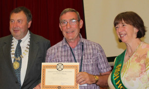 Billy O'Rourke, Castleisland (centre) pictured after receiving his Lecturer's Certificate in Beekeeping at the Gormanstown conference. Included in the photograph is Eamon McGee President of the Federation of Irish Beekeepers myself and Colette O'Connell, Irish Honey Queen 2016.