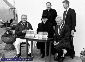 Fr. Kieran O'Shea , (standing) pictured at the launch of his book 'Knocknagoshel Parish' in the village on a May evening in 1991. Included are:  Rory O'Connor, Fr. Bob Walsh, Jerry O'Leary and Larry Keane.  ©Photograph: John Reidy 25-5-1991