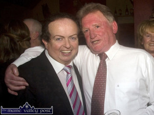 Glountane native, Cork resident,  John Brosnan pictured here with RTÉ commentator, Marty Morrissey at the Cordal GAA Club pre-dinner reception at Hughes's Bar in November 2013. Mr. Brosnan was among the club Lotto luck dip July winners. ©Photograph: John Reidy