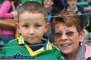 The late Margaret Lucid (nee Shanahan) pictured at the AIB Co. Senior Hurling Championship Final between Lixnaw and Ballyduff with her Lixnaw supporting grand-son, Brahim Renai at Austin Stack Park in 2010. ©Photograph: John Reidy  10-10-2010