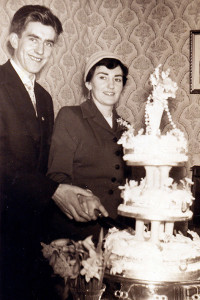 Moss and Peggy Teahan pictured on their wedding day on February 26-1957