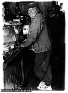The late Paul Malpass enjoying a pint of stout in Sheila Prendiville's. ©Photograph: John Reidy 1-7-1997