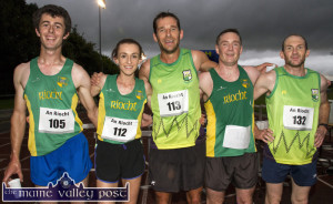 The first five home in the An Ríocht AC 5K on Wednesday evening were: Martin Dineen, 5th Shona Healsip, 3rd; Tommy O'Brien, winner; Seán O'Sullivan, 4th and Pat O'Connor, 2nd. ©Photograph: John Reidy