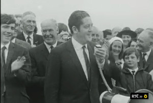 Minister for Transport and Power, Brian Lenihan, TD performing the official opening of Farranfore Airport in August 1969.