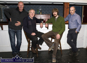 Sliabh Luachra Music's Russian visitor, Anton Zilla from Moscow (centre right) with from left: Cormac O'Mahony festival chairman; Paddy Jones - who delivered his lecture on the Music of Sliabh Luachra with host Peter Browne in Browne's Bar at the opening of last year's festival. ©Photograph: John Reidy
