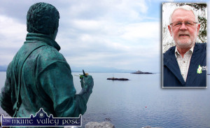 Deputy Martin Ferris inset on a photograph of the monument on Fenit Pier looking out over Tralee Bay to all who lost their lives at sea around the coast of Ireland. ©Photographs: John Reidy