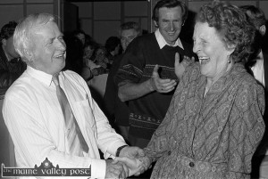 The late James Courtney being heartily and warmly congratulated by the late Mrs. Anna Spring after his re-election at the 1991 Kerry County Council Election count at the C.Y.M.S. Tralee. ©Photograph: John Reidy 28-61991