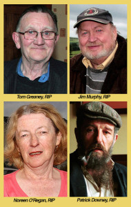 The departed: Tom Greaney, Jim Murphy, Noreen O'Regan and Patrick Downey were all praised for their contributions while they could. ©Photographs: john Reidy
