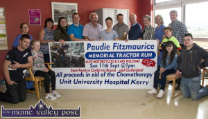 At the launch of the fifth annual Paudie Fitzmaurice Memorial Tractor Run in the Chemotherapy Unit of University Hospital Kerry were, front from left: Pádraig, Ava and Sharon Fitzmaurice, Shane Kelliher  and Dean Taylor. Back row: Michelle O'Dowd, staff nurse; Mary and Laura Fitzmaurice, Bertie Moriarty, Charlie Farrelly, Theresa Walsh, Clinical Nurse Manager, UHK; Tom Cahill, Eamon Walsh, Nora Fealey, Sinéad Dunne, staff nurse and Danny Kelliher. ©Photograph: John Reidy