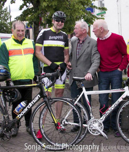 1966 Rás Tailteann riders being honoured in Ballyjamesduff in Co. Cavan earlier this year to commemorate the 50th anniversary of a stage finish in the town. Kerry team member and Castleisland native, Éamonn Breen (left) is pictured with an organiser and his Kerry team-mate and 19 ??? Rás winner, Gene Mangan, Killorglin and 19???? Rás winner Shay O'Hanlon of Dublin. ©Sonja Smith Photography