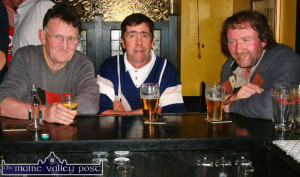 Knocknagoshel GAA Club members pictured at a function in Castleisland in 2004. From left: Tom Greaney, RIP; Jim O'Sullivan and Con Reidy, RIP.  ©Photograph: John Reidy  5-6-2004