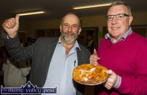 Political Pie: Danny Healy Rae, TD with Cllr. Bobby O'Connell patroling their political territory at the Indoor Market at Castleisland Community Centre on Friday night. ©Photograph: John Reidy