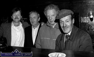 A social gathering after one of the first official meetings of the Patrick O'Keeffe Traditional Music Festival Committee at The Shoemaker's Inn included from left: Mike Kenny, festival chairman with friends: Tom Wren, Denny O'Sullivan and Jerh Sugrue. ©Photograph: John Reidy 12-10-1993