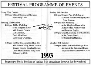 The centre pages of the first Patrick O'Keeffe Traditional Music Festival brochure containing the programme for that magical weekend in Castleisland in October 1993.
