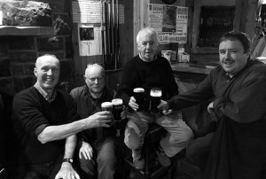 The Calm before the Swarm. Enjoying a few quiet pints in Hartnett's Bar on the eve of this weekend's Patrick O'Keeffe Traditional Music Festival were from left: Cormac O'Mahony, John Reidy, David 'Dauber' Prendiville and Tommy Dom O'Connor. Photograph: Gerdie Murphy 27-10-2016
