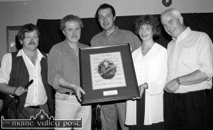 At the presentation to Siobhán McCarthy during the Jerry McCarthy Memorial Concert at the 1995 Patrick O'Keeffe Traditional Music Festival were: Mike Kenny, chairman / MC; Matt Cranitch, Cormac O'Mahony, festival committee; Siobhán McCarthy and Pat Mitchell, festival committee. ©Photograph: John Reidy 28-10-1995