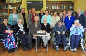 A happy group at Castleisland Day Care Centre attending a special birthday party for Vincent Cronin's 95th. Vincent is pictured with his wife Pauline and members of the Friday group at the centre.  Front from left: Mary Cronin, Margaret Cunniam, Vincent Cronin, Pauline Cronin, Tom Doody and Mary Hartnett. Back row: Peggy Keane, William O'Connor, Kathleen Meeley, Dan Collins, Donie O' Sullivan, Ann Mc Auliffe, Helen Pembroke, Kitty McAuliffe, Kathleen Walsh, Joan Fitzgerald and Tom Pembroke. Photograph Courtesy of Castleisland Day Care Centre.