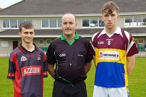 Fossa's captain, Killian Rice (left) with Referee, Brendan Brosnan, Glenflesk and Cordal/Scart captain, Kieran O'Donoghue before the East Kerry Minor C Championship Semi Final on the Monday.  Photograph:Courtesy of Paddy Flynn.