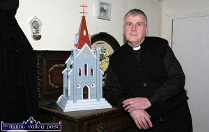The late Michael Finnegan as curate and creator with the Spike Players Drama Group  pictured on the set of Moll with the model of a church he made for the staging in 2014.  ©Photograph: John Reidy 08/02/2014