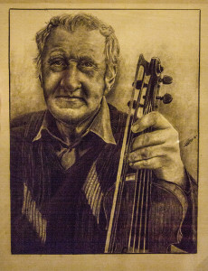 The remarkable portrait of Paddy Jones which was commissioned by the Patrick O'Keeffe Traditional Music Festival Committee from artist Finn Harper and which he tackled and completed in the lobby of the hotel over the festival weekend. You can find out more about Fin Harper's truly artistic works on his Facebook page with a click here: https://www.facebook.com/finnharperartwork