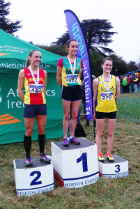 Irish Cross Country Champion, Shona Heaslip, An Ríocht AC, Castleisland with Kerry O'Flaherty, Newcastle and District A.C. in second place and Ciara Mageean, U.C.D. A.C. in third place after Sunday's Irish Life Health National Cross Country Championships at Abbotstown, Dublin.