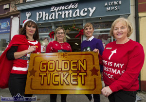 Golden Moment: Pictured just before the announcement of  the Lynch's Pharmacy Golden Ticket Draw winner last evening were: from left: Bríd Devane, Julianne Fitzgerald, Elaine Moriarty and Aileen Lynch, proprietor. ©Photograph: John Reidy