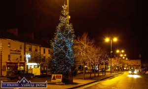 Last year's Christmas tree and lights on Main Street. This year's Christmas festivities in Castleisland will be launched on Saturday evening with a street party at 4-30pm. ©Photograph:  John Reidy