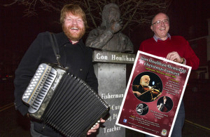 Musician and broadcaster, Danny O'Mahony and Dan Casey, Castleisland RFC announcing details of the Con Houlihan Memorial Concert which will be staged at the River Island Hotel in Castleisland on Saturday week, December 17th at 8pm. ©Photograph: John Reidy