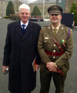 Commandant Tommy Martin and his father Joe at the medal presentation ceremony at Sarsfield Barracks in Limerick.