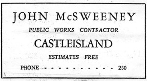 Johnny McSweeney was one of Kerry's leading building contractors in his time.