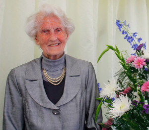 The late Kathleen Cranitch pictured on the day of her 100th birthday on September 28th.2012.  Photograph by her grandson, Luke Cranitch.