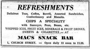 Mac's Cafe on Church Street was the place to go and be seen. There was often as much of a queue for the Juke Box as there was for the chips and peas.