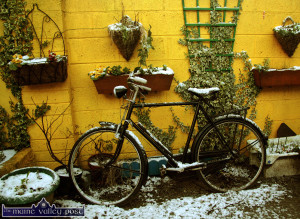 A dust of snow on my old bike in the winter of 2009. Kerry County Council is warning of road conditions this evening. ©Photograph: John Reidy 19-1-2009
