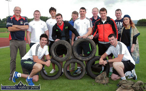 J.J.Hanrahan (back row fourth from left) At a Munster squad weights training session at An Ríocht AC in 2014. Included are front from left: Billy Holland (left) and Peter O'Mahony. Back row: Dan Casey, Castleisland Rugby Club; Martin Kelly, Donnacha O'Callaghan, JJ Hanrahan, William Dennehy, An Riocht AC; Paddy Butler, Colm Nolan, Castleisland Rugby Club; Mike Sherry, Brian Horgan, Castleisland Rugby Club and Kate McSweeney, An Riocht AC. ©Photograph: John Reidy 31-7-2014