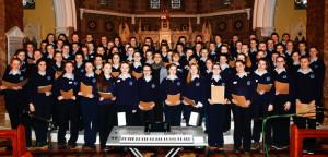 The St. Joseph's Presentation Secondary School Choir with Ms. Veronica McCarron at their recital on Monday. Photograph: Joe Hanley.