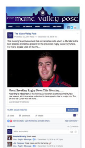The Maine Valley Post carried the story of JJ Hanrahan's return to Munster Rugby on December 15th last. Click to enlarge image.