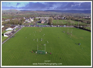 A still from Tom Russell's drone footage of Castleisland Desmonds GAA Club grounds during the Kerry V Dublin Ladies National League game on Sunday.