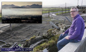 Cllr.Bobby O'Connell pictured amid the Kerry County Council created rubble dumped at Gleansharoon and inset: the view from the area on a more obliging day. ©Photograph: John Reidy.