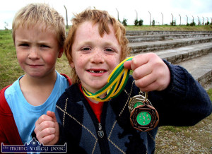 Early promise:  John Walsh (left) and Seán Mangan showing off their haul of medals from the 2007 Pattern Day Sports at Willie Walsh Memorial Park.  ©Photograph:  John Reidy  15-8-2007