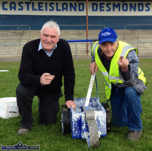 Castleisland Desmonds GAA Club grounds-men, Mike Cremin (left) and Willie Reidy were praised for the presentation of the grounds on Sunday. ©Photograpoh: John Reidy